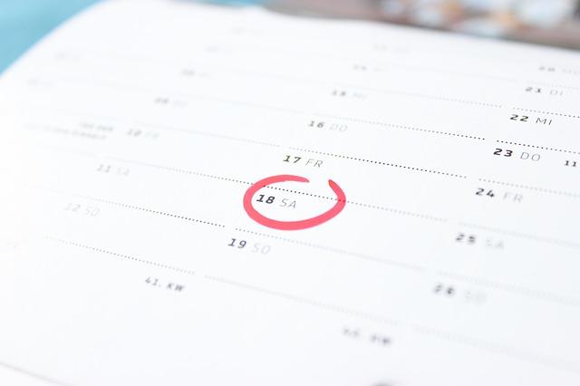 kroužek v kalendáři